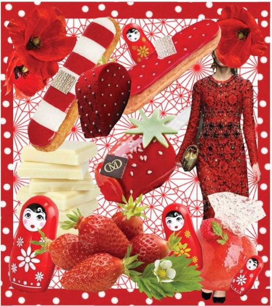 Recette Dôme mousse au Chocolat Blanc, insert compotée de fraise et rhubarbe, glaçage rouge